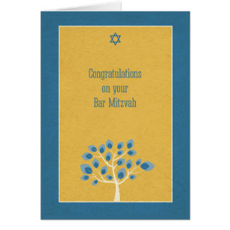 Bar Mitzvah Congratulations, Blue Tree, Gold Card