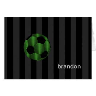 Bar Mitzvah Emerald Green and Black Soccer Ball Card