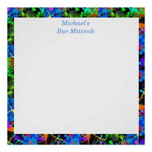 Bar Mitzvah, Faux Neon, Sign in Board