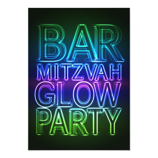 Bar Mitzvah GLOW PARTY Birthday Invitation