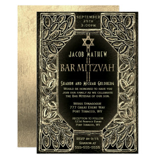 Bar Mitzvah Gold and Black Card