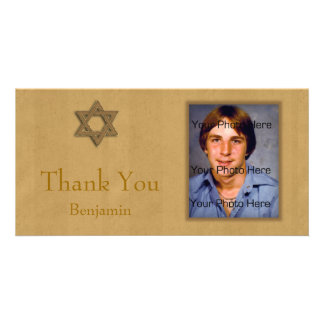 Bar Mitzvah Gold Customised Photo Card