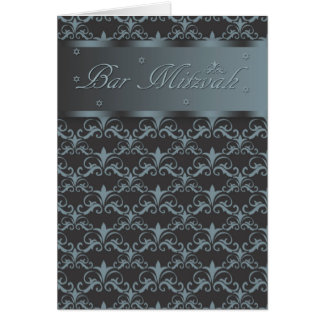 Bar Mitzvah In Blended Black And Blue/Grey Greeting Card