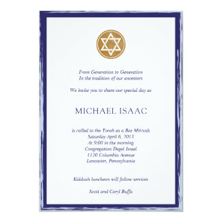 Bar Mitzvah Invitation blue and gold star