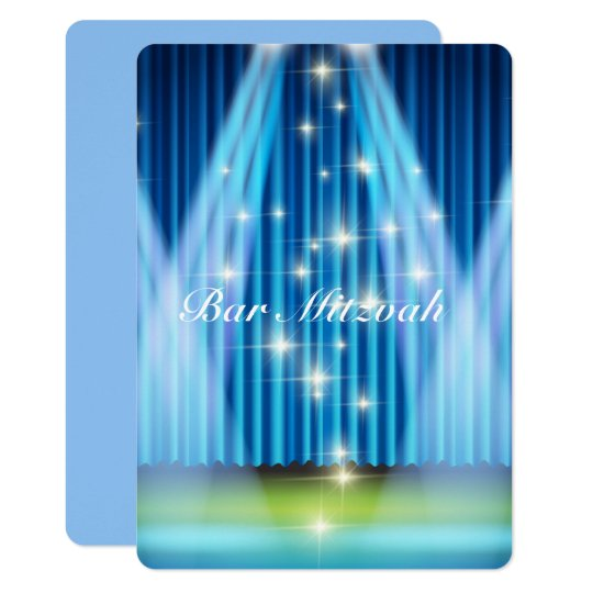 Bar Mitzvah Invitation, Blue Lighted Stage Card