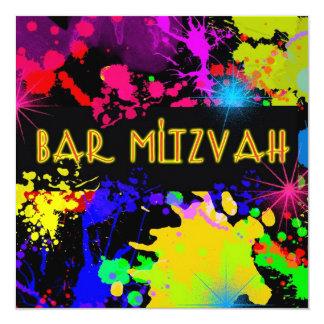 Bar Mitzvah Invitation Colorful Paint Splatter