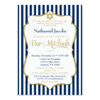 Bar Mitzvah Invitation Navy Blue Gold Elegant
