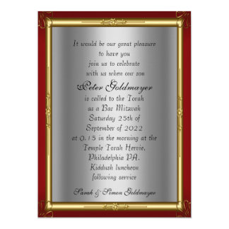 "Bar Mitzvah Invitation Red silver 6.5"" X 8.75"" Invitation Card"