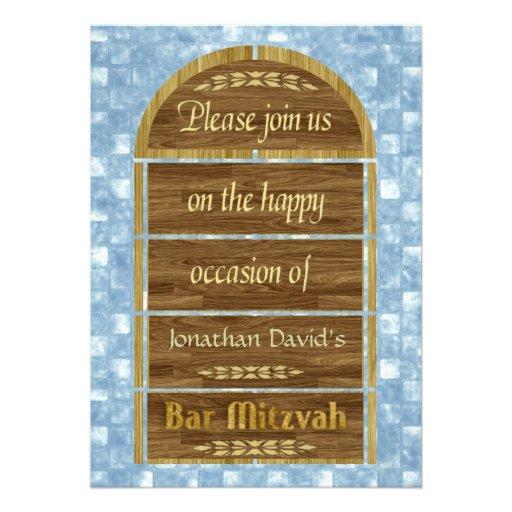 Bar Mitzvah Invitation, Wood Panels, Blue Pattern