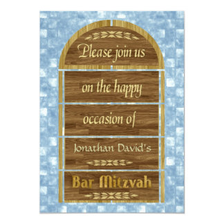 Bar Mitzvah Invitation, Wood Panels, Blue Pattern 13 Cm X 18 Cm Invitation Card