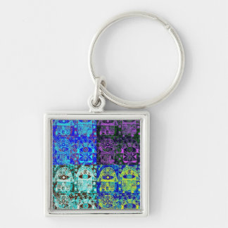 Bar Mitzvah 'KeyChain GiveAway' : Hamsa Silver-Colored Square Key Ring
