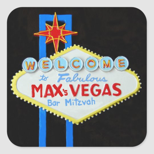 Bar Mitzvah Las Vegas personalised Max Square Sticker