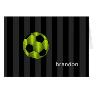 Bar Mitzvah Lime Green and Black Soccer Ball Card