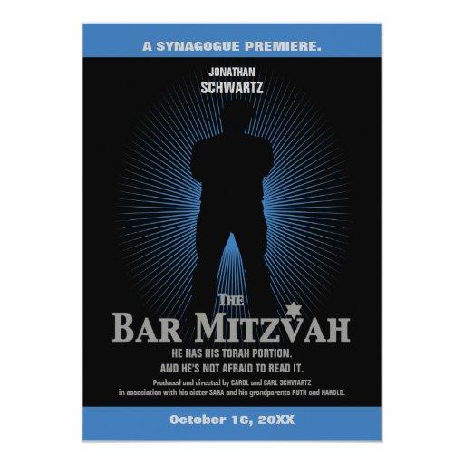 Bar Mitzvah Movie Star Invitation in Blue, Black 13 Cm X 18 Cm Invitation Card