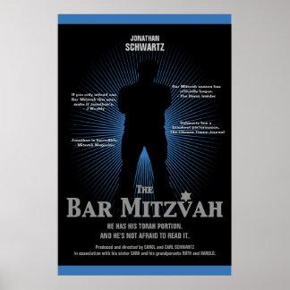 Bar Mitzvah Movie Star Poster in Blue, Black