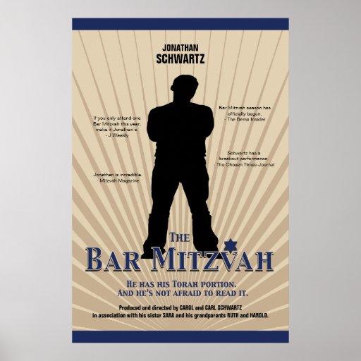 Bar Mitzvah Movie Star Poster in Navy Tan