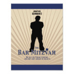 Bar Mitzvah Movie Star Reply Card in Navy Tan Personalised Invitation