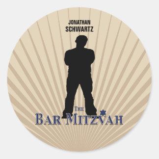 Bar Mitzvah Movie Star Sticker in Navy Tan