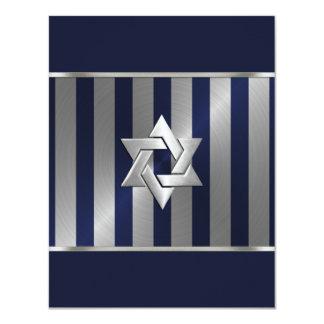 Bar Mitzvah Navy and Silver Stripe Star of David 11 Cm X 14 Cm Invitation Card