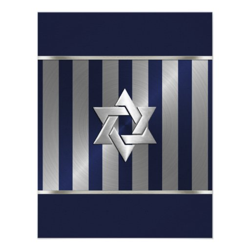 Bar Mitzvah Navy and Silver Stripe Star of David Personalized Invitations