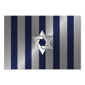 Bar Mitzvah Navy Blue and Silver Stripe with Star 9 Cm X 13 Cm Invitation Card
