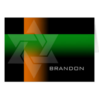 Bar Mitzvah Orange and Green on Any Color Note Card