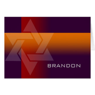 Bar Mitzvah Orange and Red on Any Color Note Card