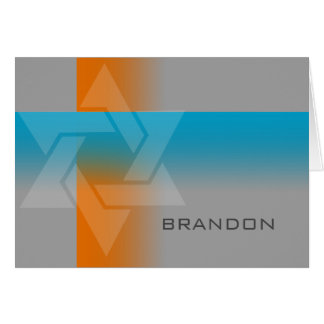 Bar Mitzvah Orange and Turquoise on Any Color Note Card