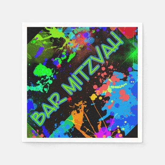Bar Mitzvah Paint Splatter, Paint Ball Disposable Napkin