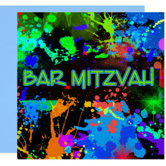 Bar Mitzvah, Paint Splatter, Party Invitation