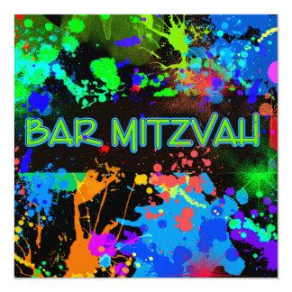 Bar Mitzvah, Paint Splatter, Party Invitation
