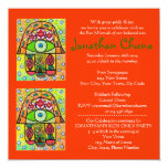 Bar Mitzvah - Pear Orchard Hamsa 13 Cm X 13 Cm Square Invitation Card