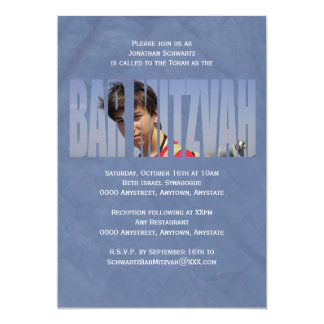 Bar Mitzvah Photo Invitation in Blue Crinkled