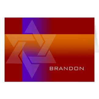 Bar Mitzvah Purple and Orange on Any Color Note Card