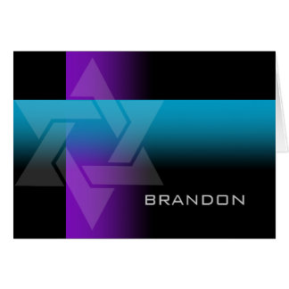 Bar Mitzvah Purple and Turquoise on Any Color Note Card