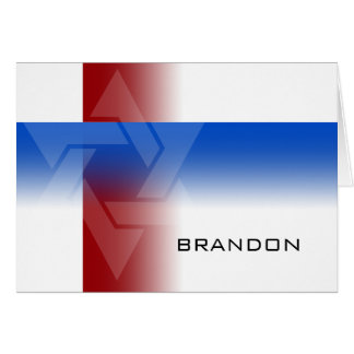 Bar Mitzvah Red and Blue on Any Color Note Card