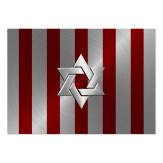 Bar Mitzvah Red and Silver Stripe Star of David Business Card