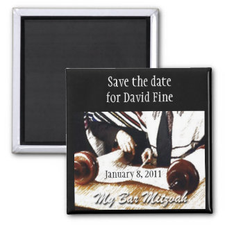 Bar Mitzvah Save the Date Square Magnet
