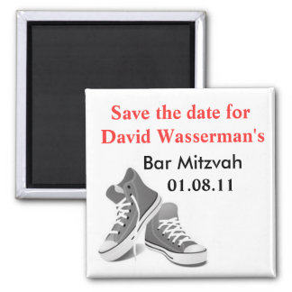Bar Mitzvah Sneakers Save the Date Square Magnet