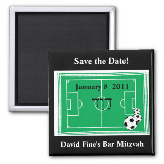 Bar Mitzvah Soccer Save the Date Square Magnet