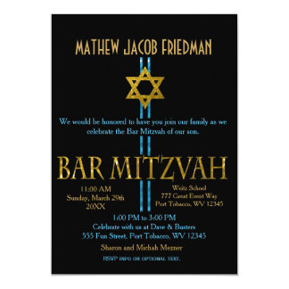 Bar Mitzvah | Star of David | Black Card