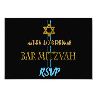 Bar Mitzvah Star of David RSVP Card