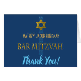 Bar Mitzvah Star of David Thank You Card