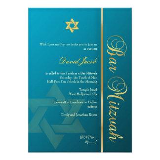 Bar Mitzvah teal blue gold Custom Invitations