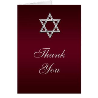 Bar mitzvah thank you blue silver greeting card