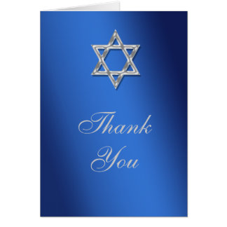 Bar mitzvah thank you blue silver card