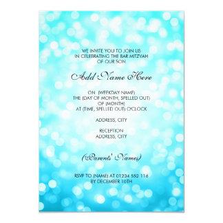 Bar Mitzvah Turquoise Glitter Lights 11 Cm X 16 Cm Invitation Card
