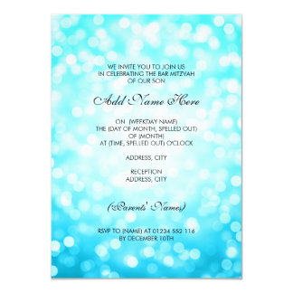 Bar Mitzvah Turquoise Glitter Lights Card