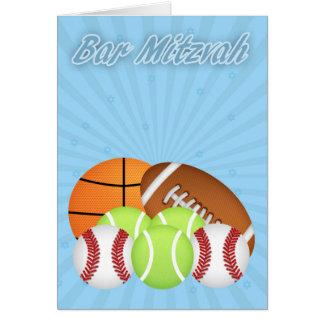 Bar Mitzvah With Various Sport Balls, Tennis, Base Greeting Card