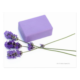 Bar of lavender soap made from 100% natural oils postcard